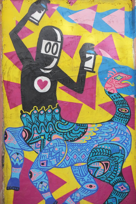 David da Limon black ninja character, with a red heart, with a spray paint can in each hand and spraying while riding on a dragon like character drawn by a different artist