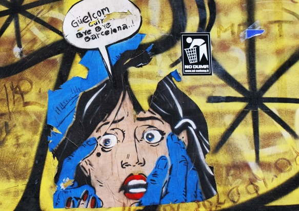 pasteup of a woman with blue hands reaching out for her face, also the words, guelcom