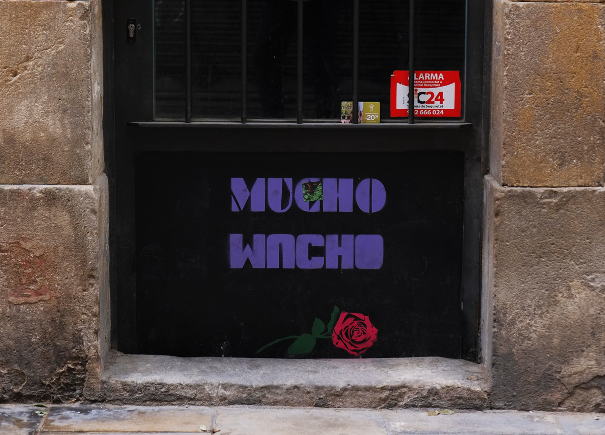 stencil, in purple, words mucho mucho with the second one being uder the first, and upside down, also a stenciled red rose lying under the words, arranged such that the flower looks like its lying on the sidewalk,