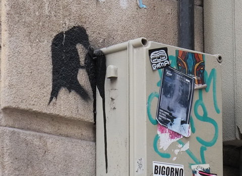 stencil, black bird eating something