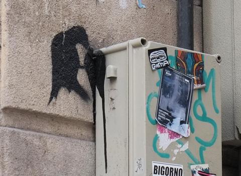 stencil, black bird eating something