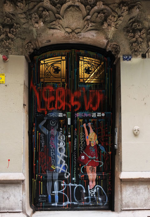 doors, wood, with two people on them, an adult and a girl