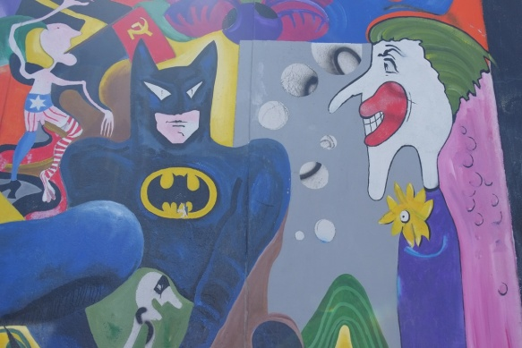 part of a mural on Berlin Wall, Eastside gallery - Batman and Joker