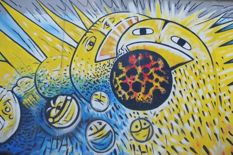 part of a mural on Berlin Wall, Eastside gallery