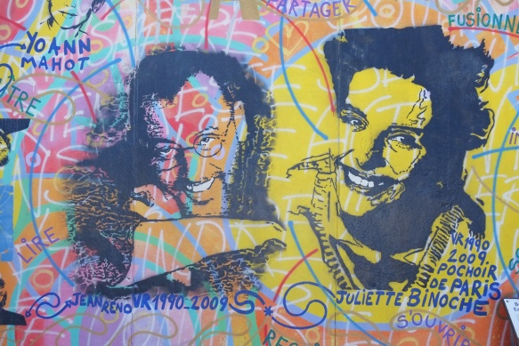 part of a mural on Berlin Wall, Eastside gallery - faces of two people,