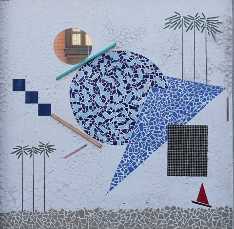 mural with small red sailboat, circles, squares, triangle