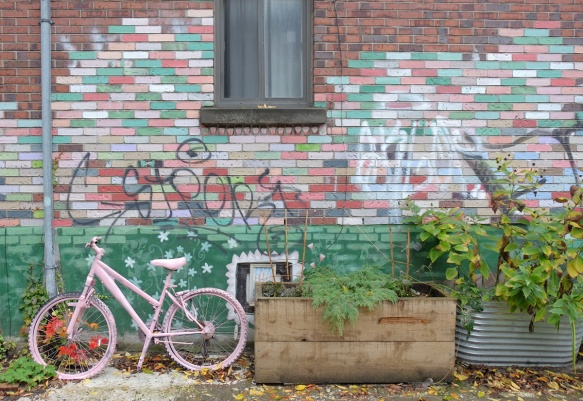 an old bike that has been painted pink and has a garland of fake autumn leaves woven through the spokes. bike is leaning agains a wall where the bricks have been painted in shades of white, pink, and green.