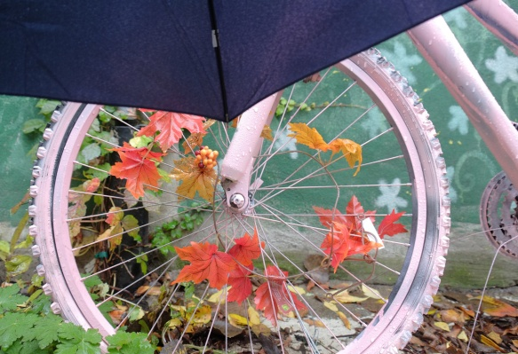 close up of back wheel of an old bike that has been painted pink and has a garland of fake autumn leaves woven through the spokes.