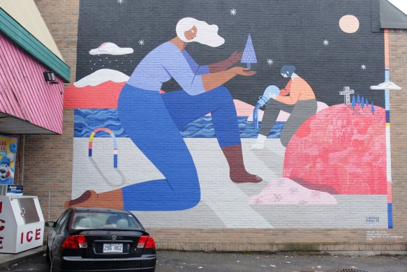 large mural in a small parking lot in front of a store, painted by Cryielle Tremblay and Poni,