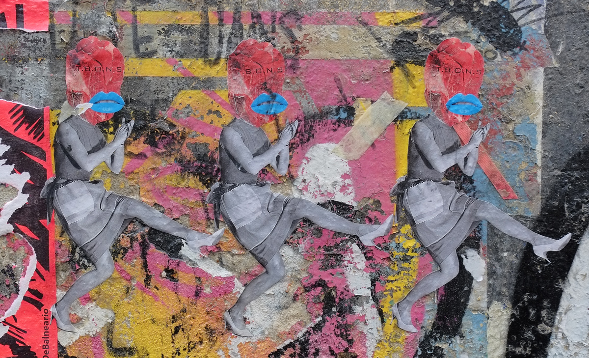 pasteup, 3 dancing women from black and white vintage photos, but with red heads and big blue lips, T.B.O.N.S written on each head