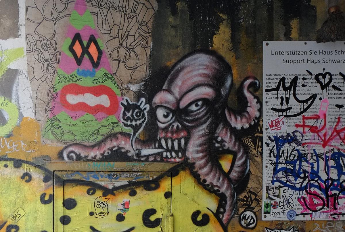 street art, octopus smoking a cigarette