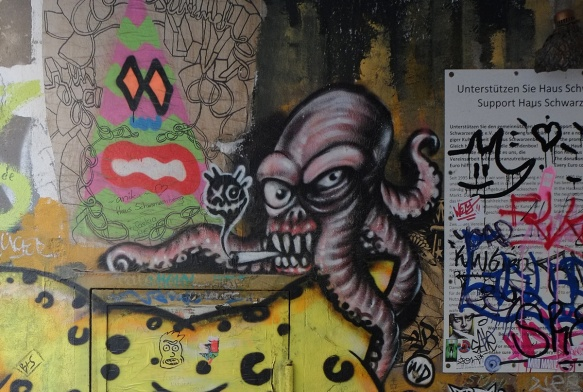 street art, octopus smoking a cigarette
