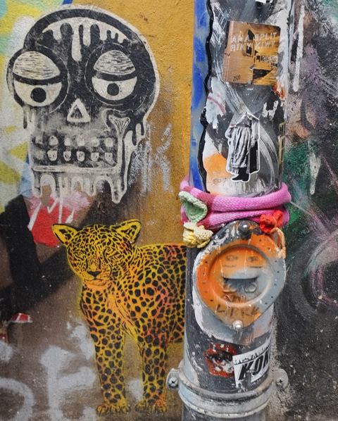 pasteup of black and white skull, yellow jaguar with black spots
