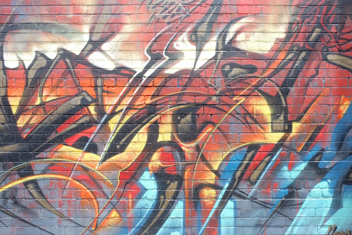 close up of street art by heesco