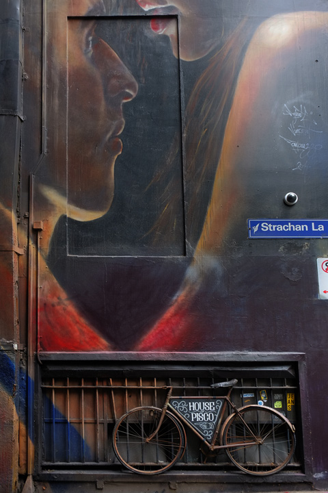 bike parked in front of a mural by adnate of a couple, street sign that says Strachan Lane