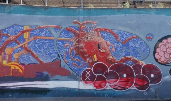 part of a whale mural showing that red heart as a pump