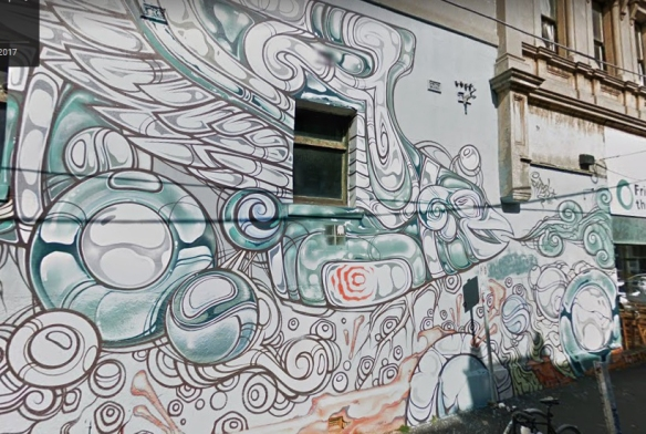 screen shot of google street view of the phobs mural on perry street in melbourne