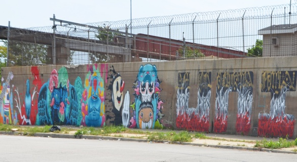 row of murals on 15th street, along railway wall, Chicago