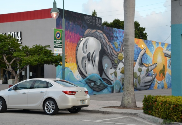 one end of a mural by emo and remote in hollywood florida can be seen on the side of a building, as seen from across the street, car parked in front, tall palm tree