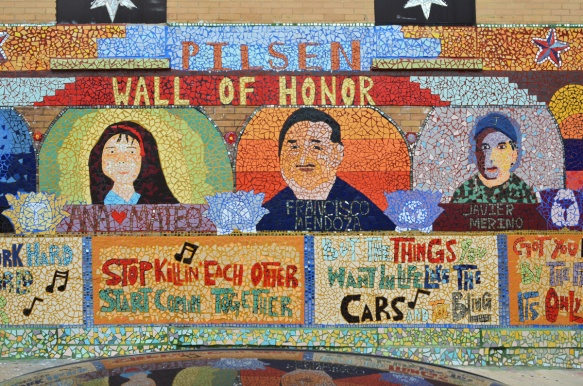 Pilsen wall of honor part of mosaic mural, pictures and names of three people, young girl Ana Mateo, and two men, Francisco Mendoza and Javier Merino.