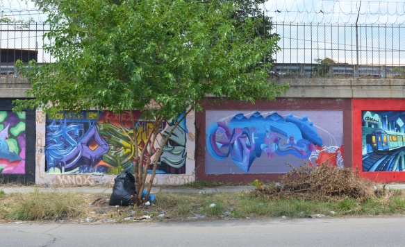 a small tree in front of two murals on a wall