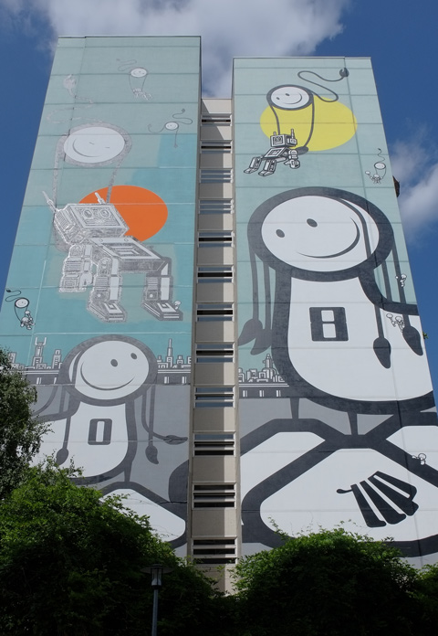 Urban Nation Tegel Art Park, large mural on side of 13 storey building,