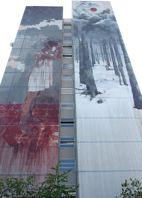 dark mural by Gonzalo Borondo, a girl with blood at her feet, a forest in winter, Urban Nation Tegel Art Park, large mural on side of 13 storey building,