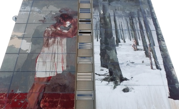 close up of top part of dark mural by Gonzalo Borondo, a girl with blood at her feet, a forest in winter, Urban Nation Tegel Art Park, large mural on side of 13 storey building,