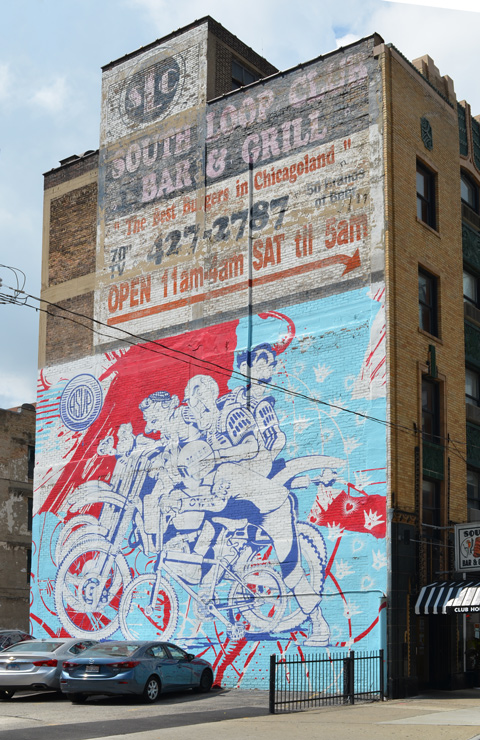 mural by asup on the side of a bar and grill on Balboa street in Chicago, in red, white and pale blue