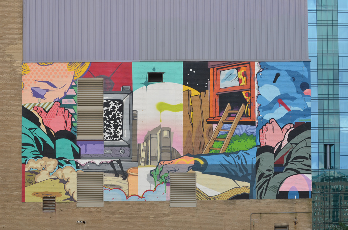 a bright collage-like mural