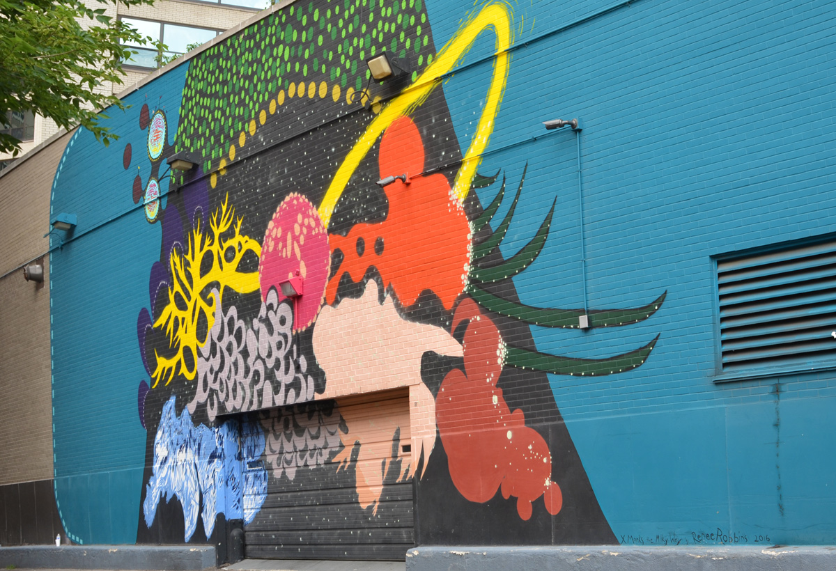 X Marks the Milky Way, a mural in a Chicago alley by Renee Robbins, abstract colours and shapes on a teal background