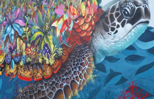 close up detail of the colours and shapes in a turtle shell, mural