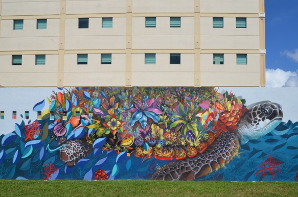 sea turtle mural on a wall