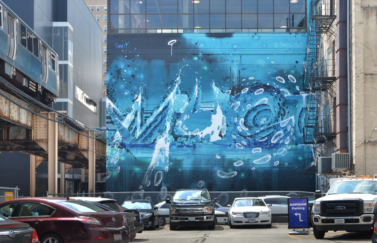 a large watery blue mural