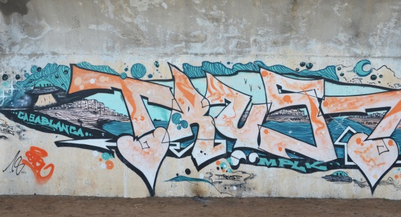 text graffiti by trust also with word casablanca and some scenes from that city