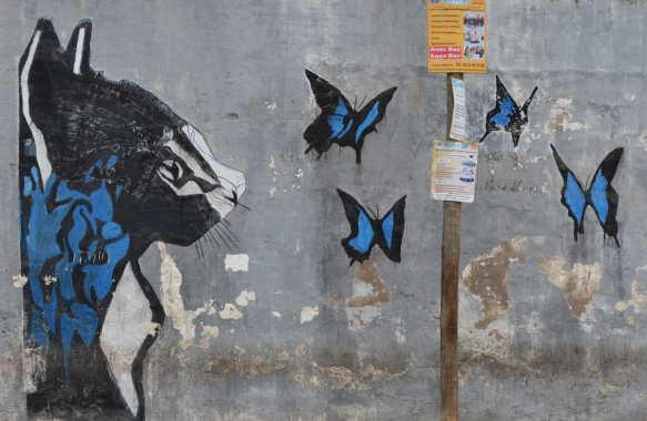part of a series of murals on a Casablanca wall, a large black, blue and white cat looking a four black and blue butterflies