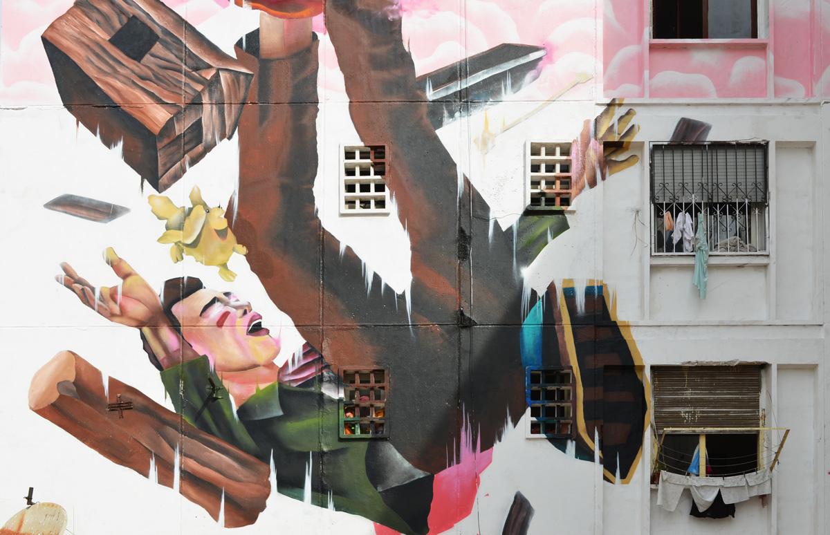 mural of man falling