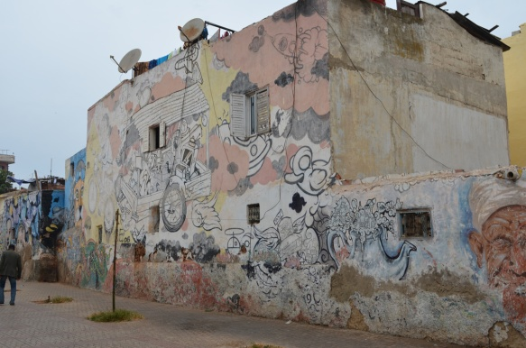 wall of murals in Casablanca
