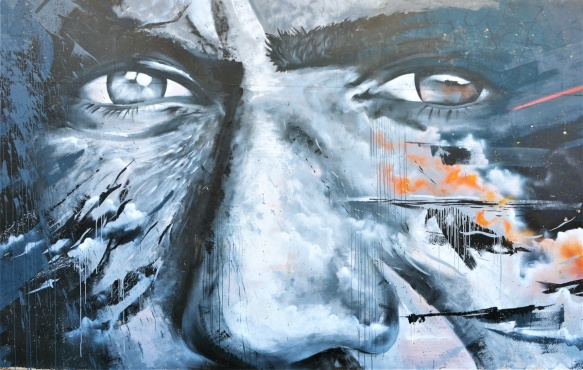 mural, close up of man's eyes and nose by Senzoclouds, senzo, mr clouds