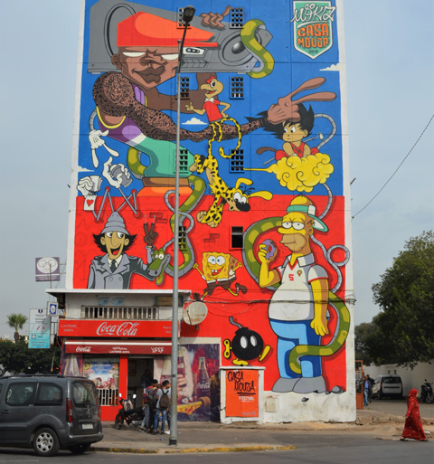 a mural of cartoon characters by moka,