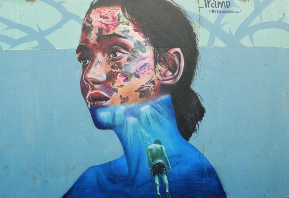 woman's head and shoulders, mural by Iramo Samir called Oxymoron, most of her face is covered with flowers, lower part of face and shoulders is blue water with a person who seems to be drowning