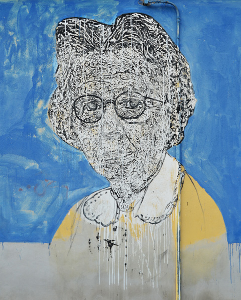 elderly woman with glasses and yellow sweater, large portraits by sten and lex, Italian street arts, in a mural on two sides of the street, of famous people and common people,