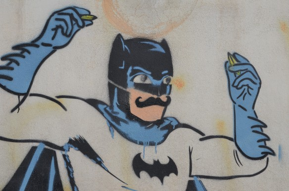 Batman stencil, with mustache, upper body