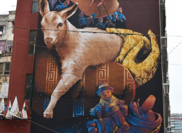 holding onto a goat in a mural, other little men