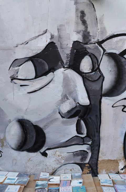 shades of grey, stylized man's face on a wall behind a table with books on it