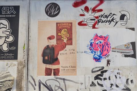 fishes invasion graffiti with Santa Claus