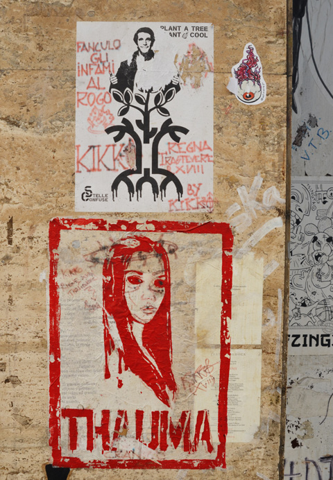thauma red stencil graffiti