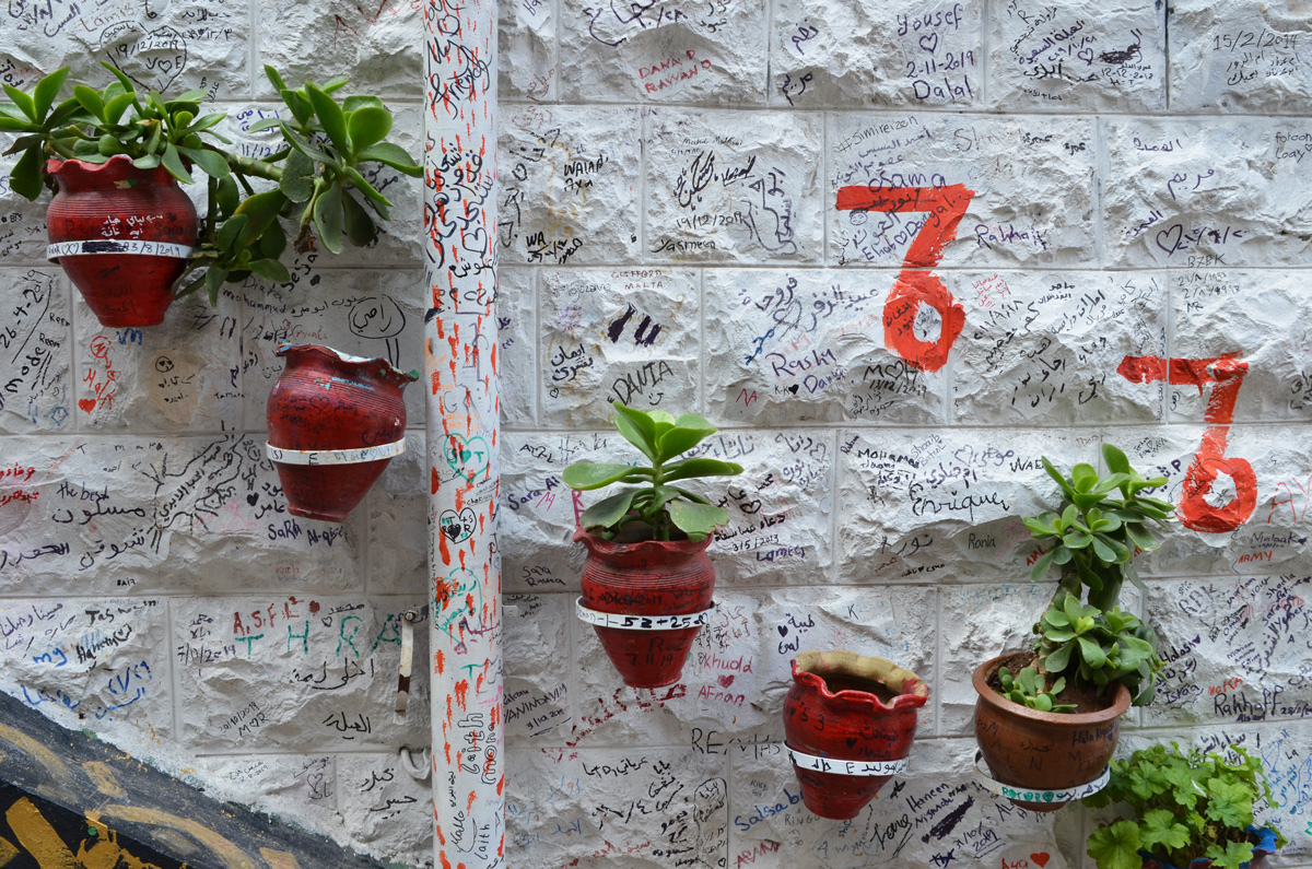 a group of terra cotta planters with small green plants in them, attached to a white wall on which people have written their names and other woards
