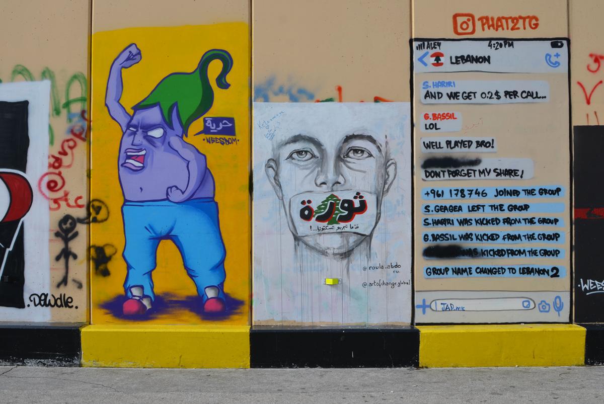 street art on the escwa wall in Beirut