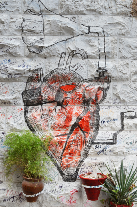 anatomical looking picture of a human herat, coloured red, with an old fashioned gramaphone speaker coming out of the top of it, street art